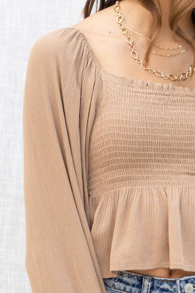 Cappuccino Gauze Smocked Top