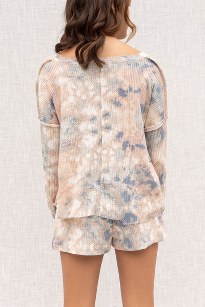 Peach Tie Dye Thermal Pullover Set