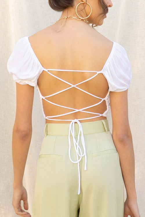 Bella Open Back Crop Top