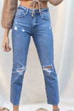 High Rise Straight Distressed Denim