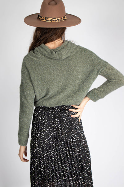 Soft Fuzzy Cowl Neck Top