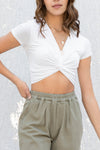 Allie Front Twist Crop Top