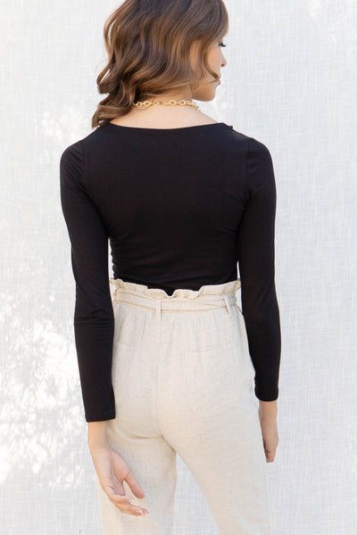 Shoulder Cut Outs Long Sleeve Top