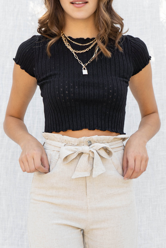 Cara Textured Ribbed Crop Top