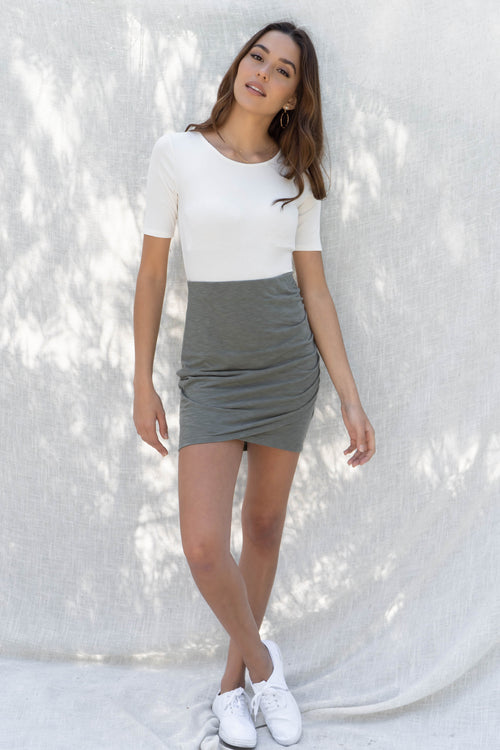 Side Ruched High Waist Skirt