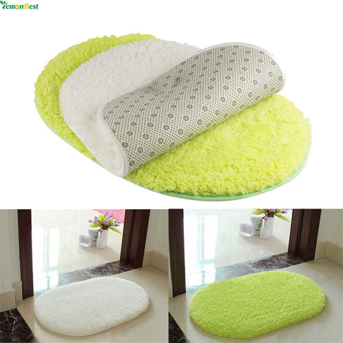 1Pcs 40*60CM Bathroom Carpets Absorbent Soft Memory Foam Doormat Floor Rugs Oval Non-slip Bath Mats Green White