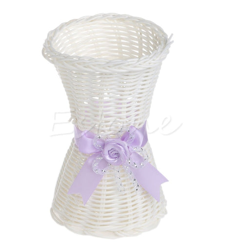 New 1Pc Artificial Rattan Vase Flower Fruit Candy Storage Basket Garden Party Decor