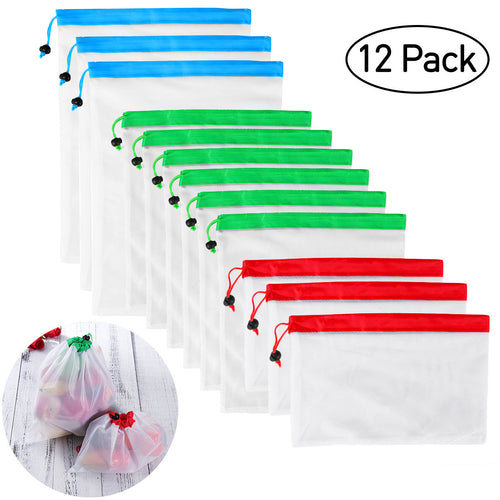 12pcs Reusable Mesh Produce Bags Washable Eco Friendly Bags for Grocery Shopping Storage