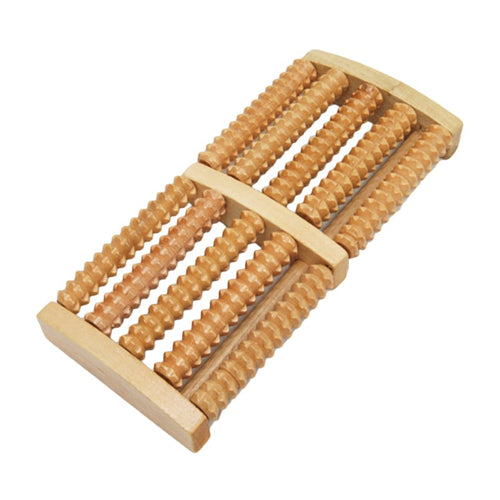5-Row Foot Massager Roller Wooden Wheel Massager Wood Roller Foot Trigger Point Acupuncture Massager