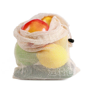 Reusable Cotton Vegetable Bags Home Kitchen Fruit And Vegetable Storage Mesh Bags