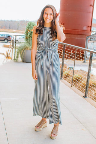 THE FINISH LINE STRIPED TIE JUMPSUIT