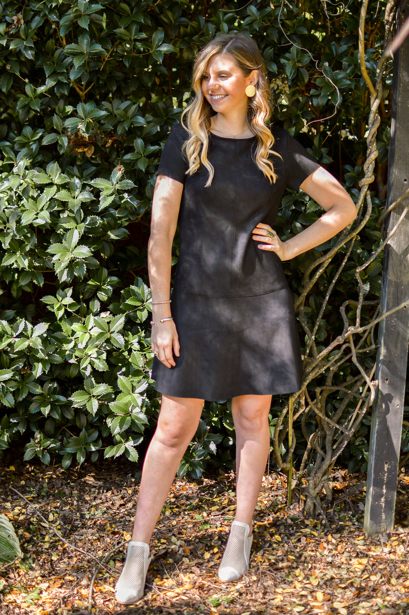 BLACK AT IT AGAIN SUEDE DRESS