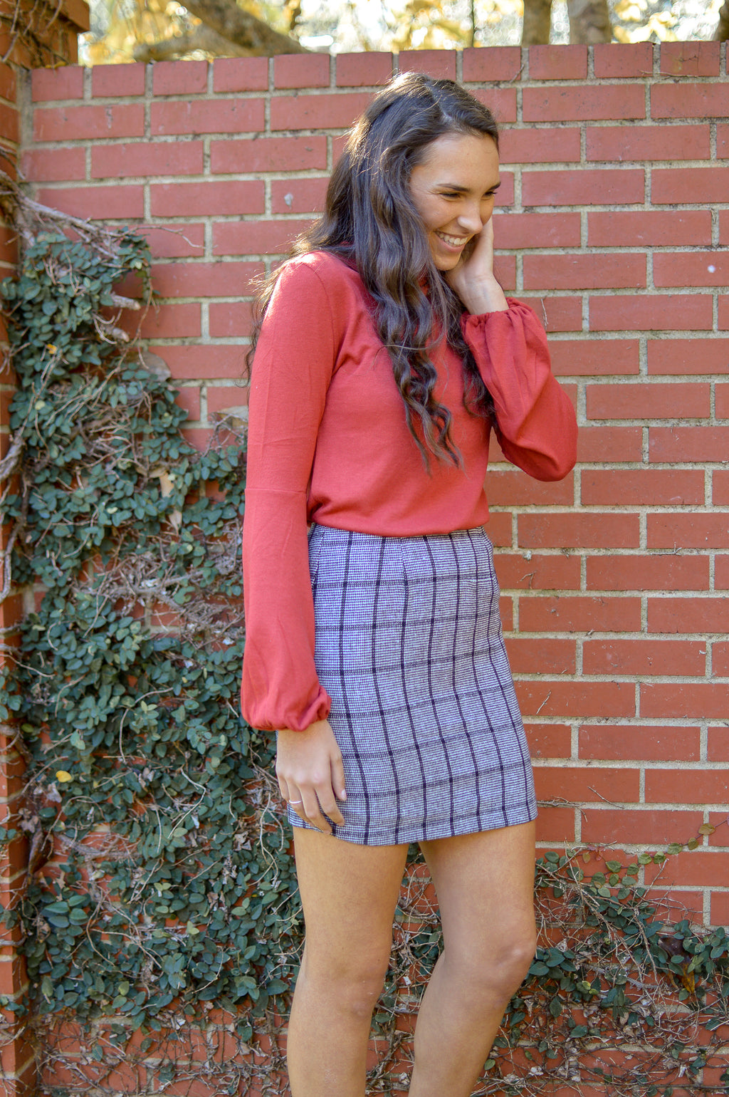 GOOD GIRL GONE PLAID KNIT SKIRT