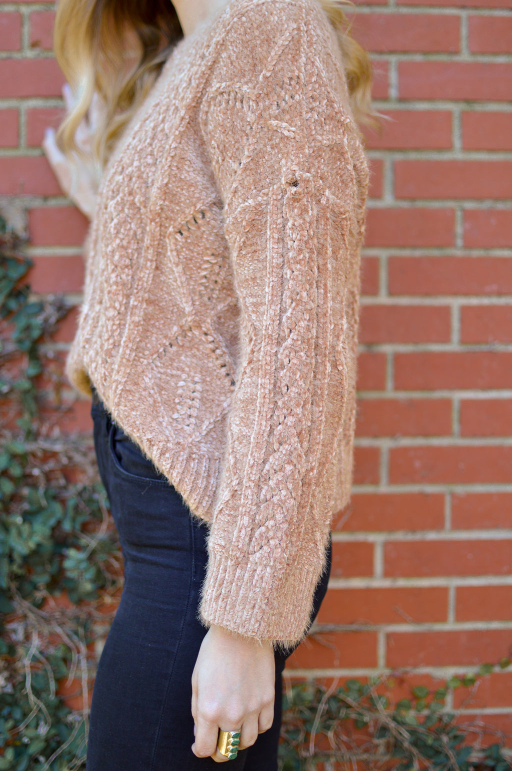THE TAUPE IT ALL OFF CHENILLE SWEATER