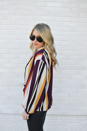 STAY IN LINE STRIPED BLOUSE