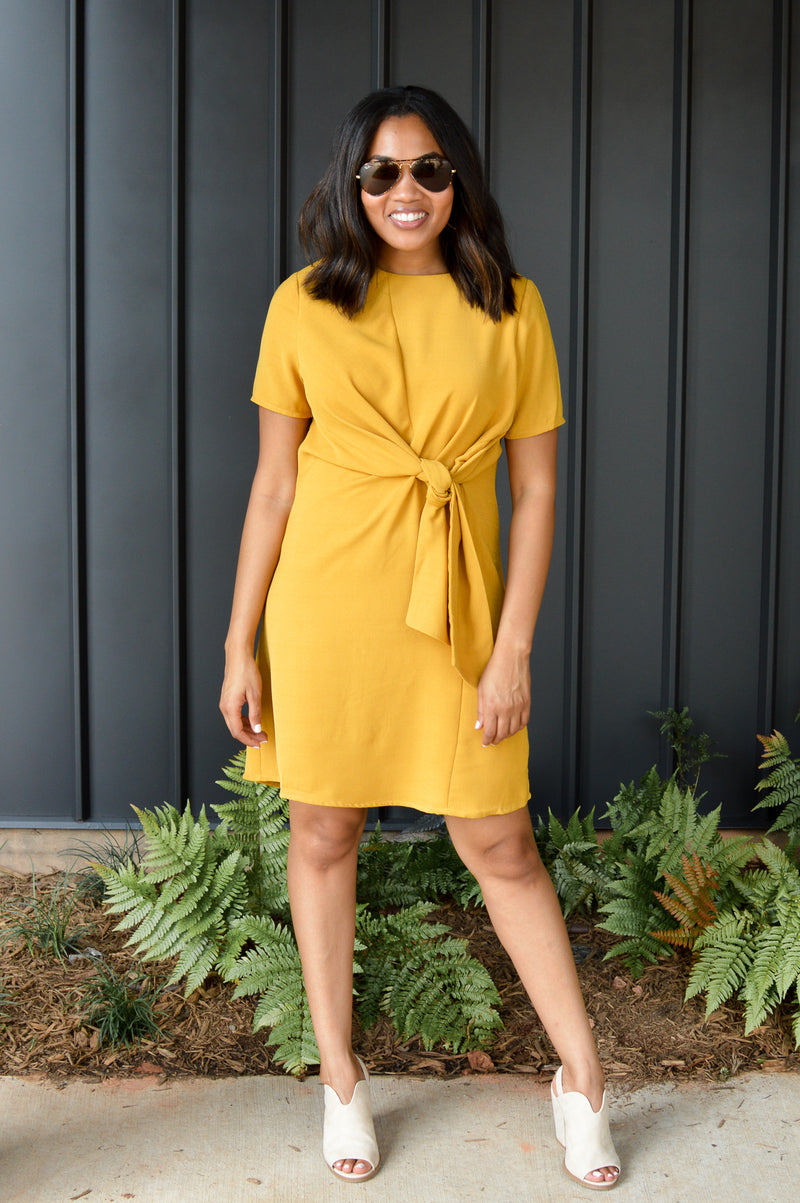 RAY OF SUNSHINE TIE FRONT DRESS