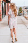 IT'S A HOME RUN STRIPED ROMPER