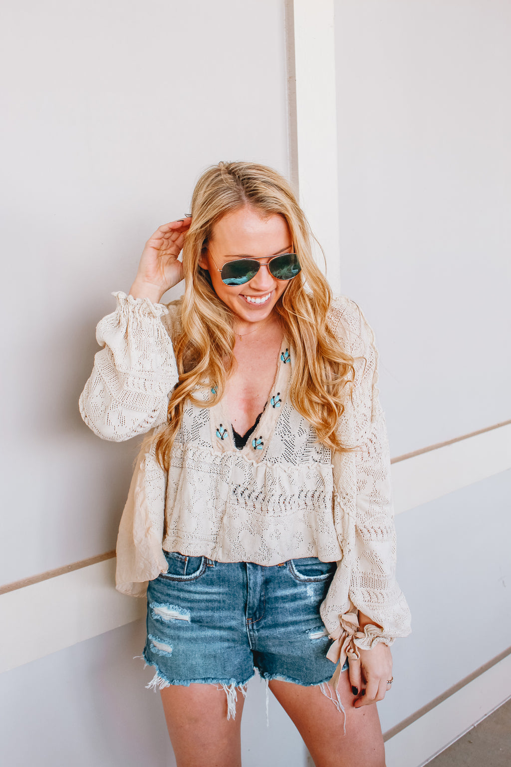 FREE PEOPLE TOUCH OF TURQUOISE TOP