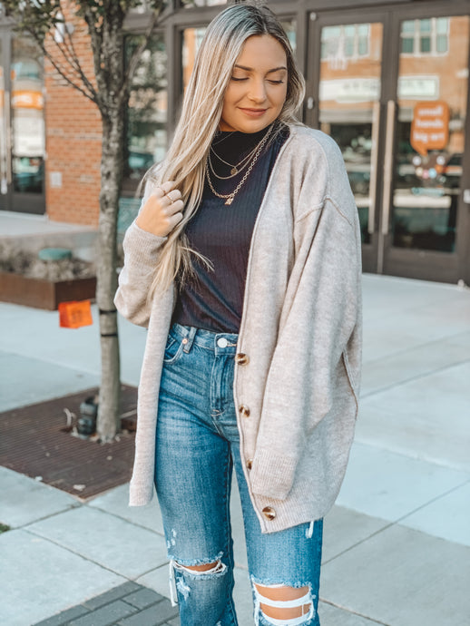 OUT OF MY LEAGUE CARDIGAN - OATMEAL