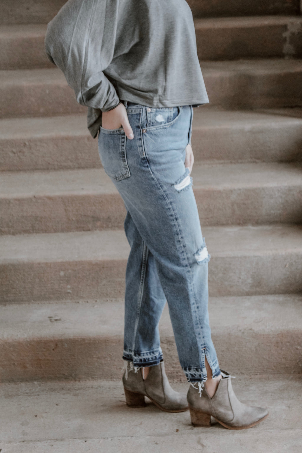 FREE PEOPLE BOYFRIEND JEANS - YOSEMITE BLUE