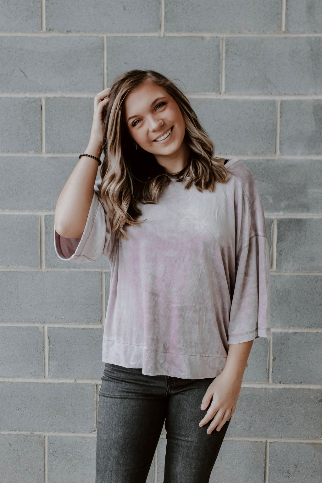 FREE PEOPLE VELVET TEDDY TOP