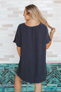 BREATHE IN THE SUNSET DRESS - NAVY