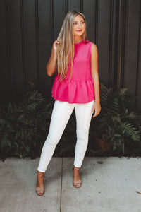 THE NORA BLOUSE - HOT PINK