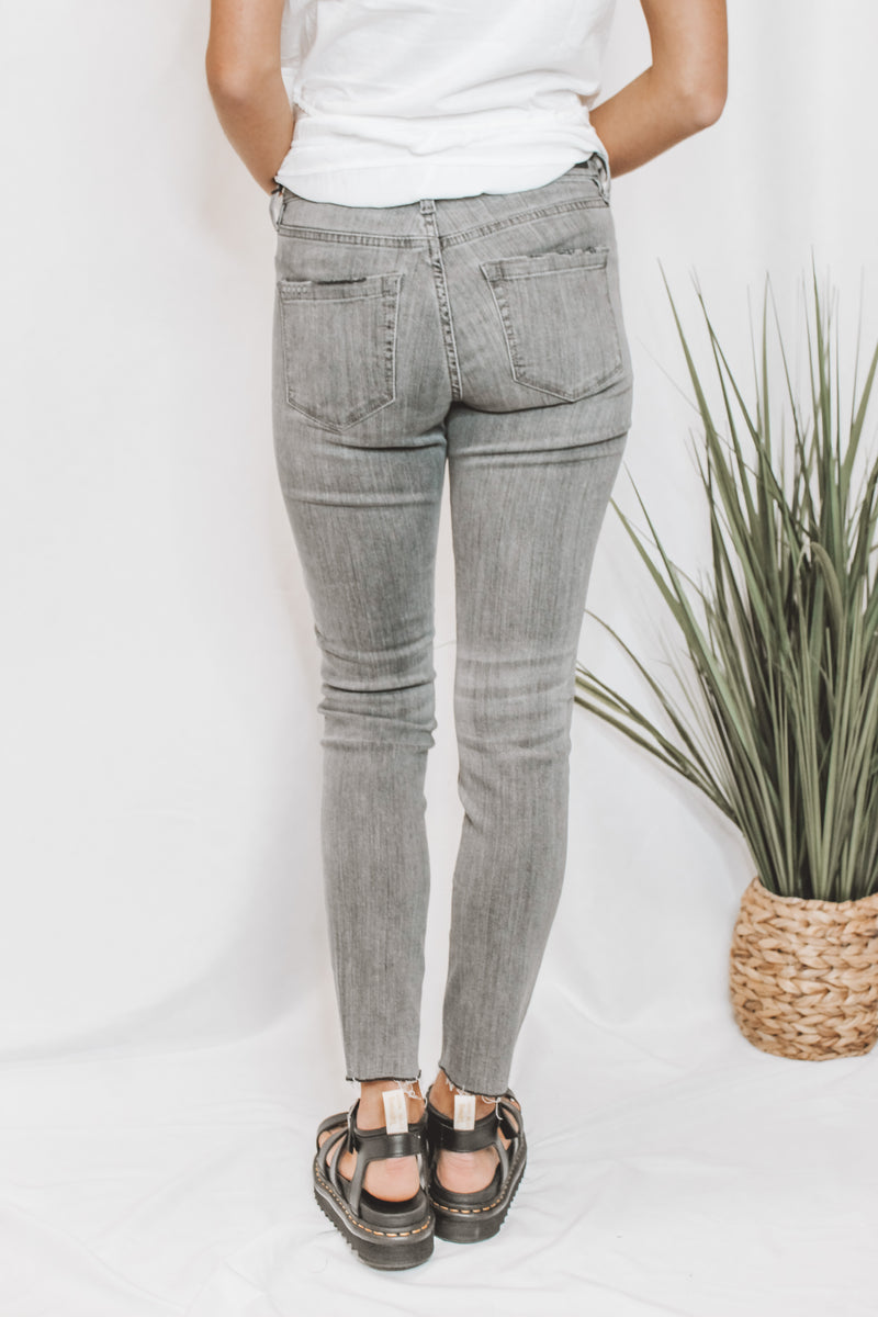 THE BOND - MID-RISE GREY SKINNY JEANS - BLANK NYC