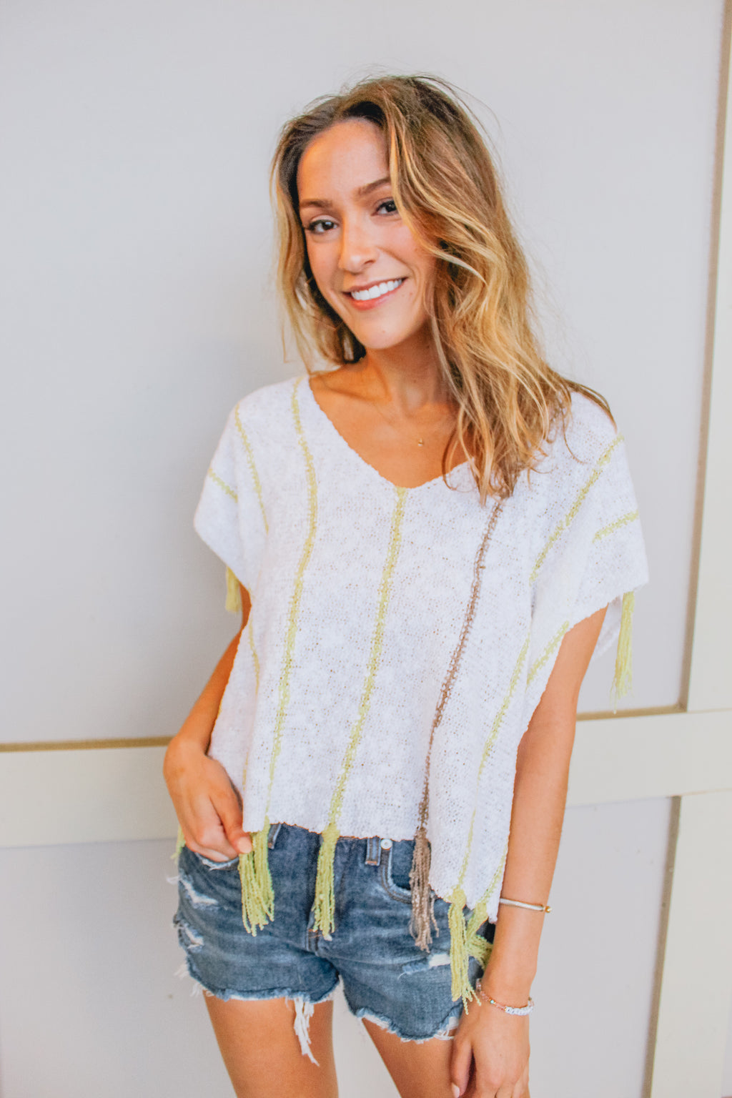 ALL STRIPES OF RAD KNIT TASSEL TOP
