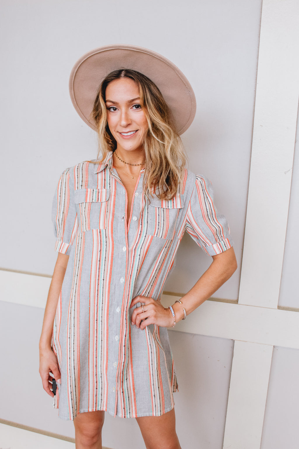 SAGE THE LABEL GET IN LINE BUTTON DOWN DRESS