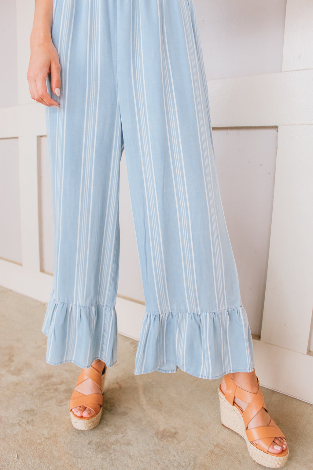 BB DAKOTA INDIGO FLOW STRIPE JUMPSUIT