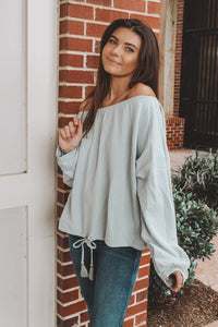 STAYCATION OFF THE SHOULDER SWEATER - SKY BLUE