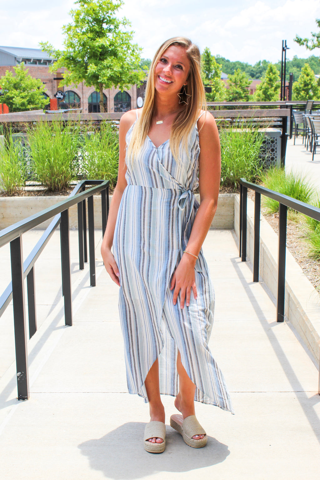 RAISE THE BAR STRIPED MAXI DRESS