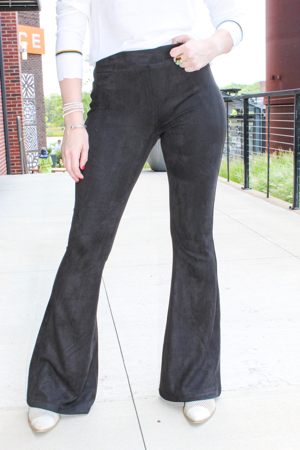 BLANK FAUX SUEDE FLARE PULL ON PANTS