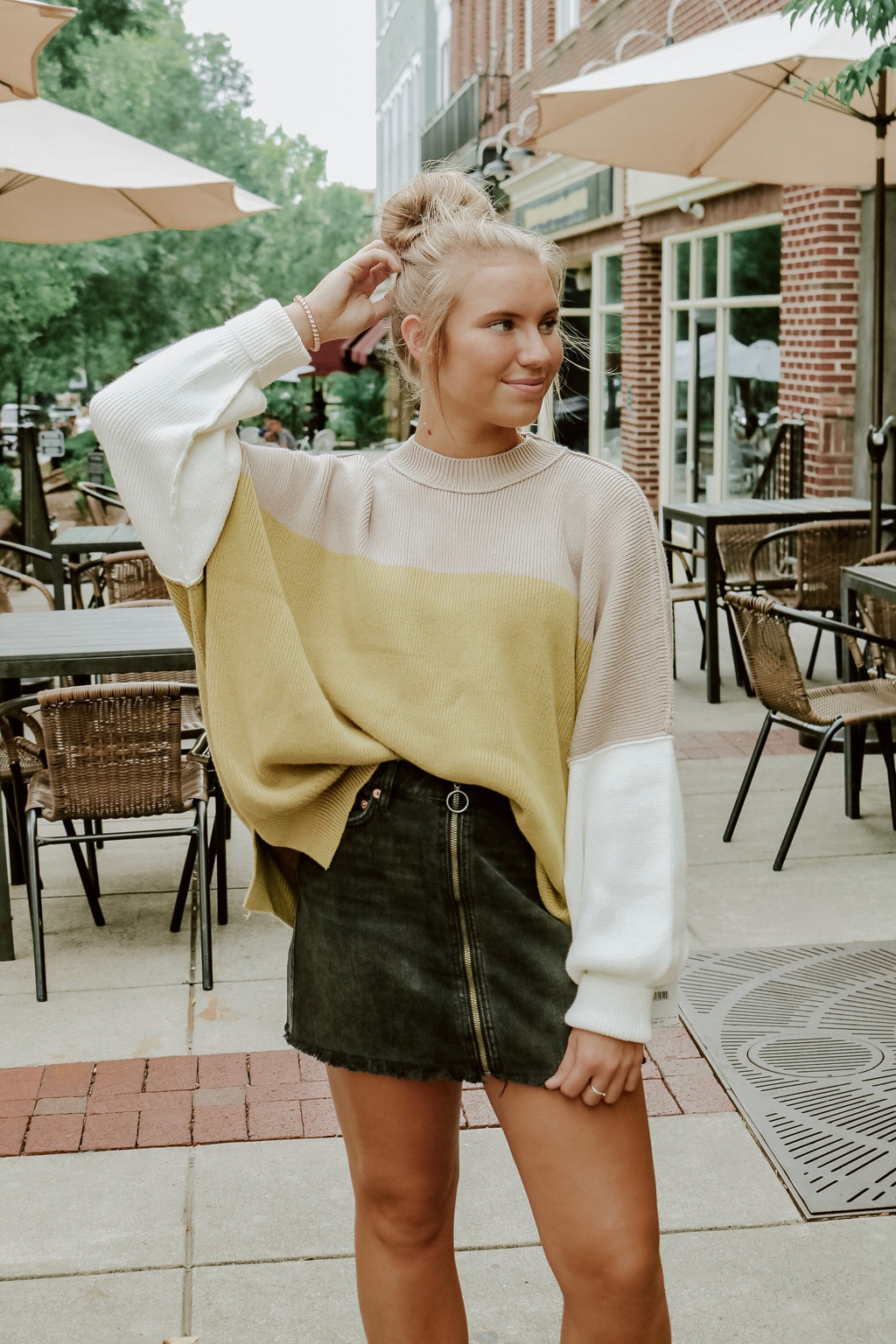 FREE PEOPLE COLORBLOCK SWEATER