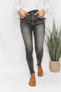 FRAYED BLACK SKINNY JEANS - FREE PEOPLE