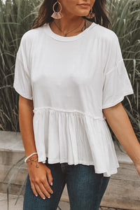 RIGHT DIRECTION PEPLUM TOP - WHITE
