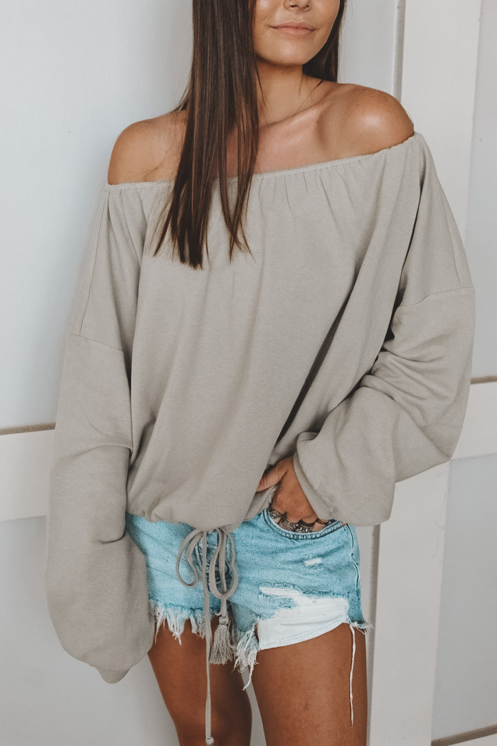 STAYCATION OFF THE SHOULDER SWEATER - OLIVE