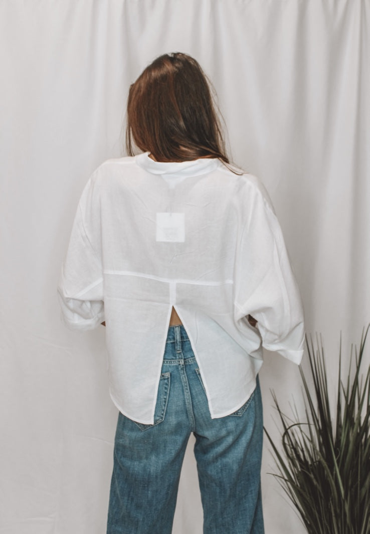 LET'S SPLIT DOLMAN TOP - WHITE