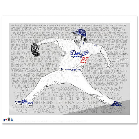 Clayton Kershaw 2014 NL Cy Young & MVP Word Art