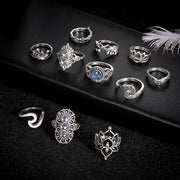 Silver Boho 11Pcs Ring Set
