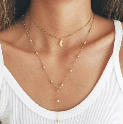 Moon Pendant Choker Necklace
