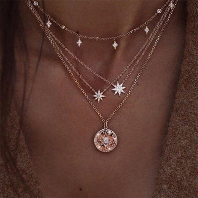Rose Gold Layered Star Necklace