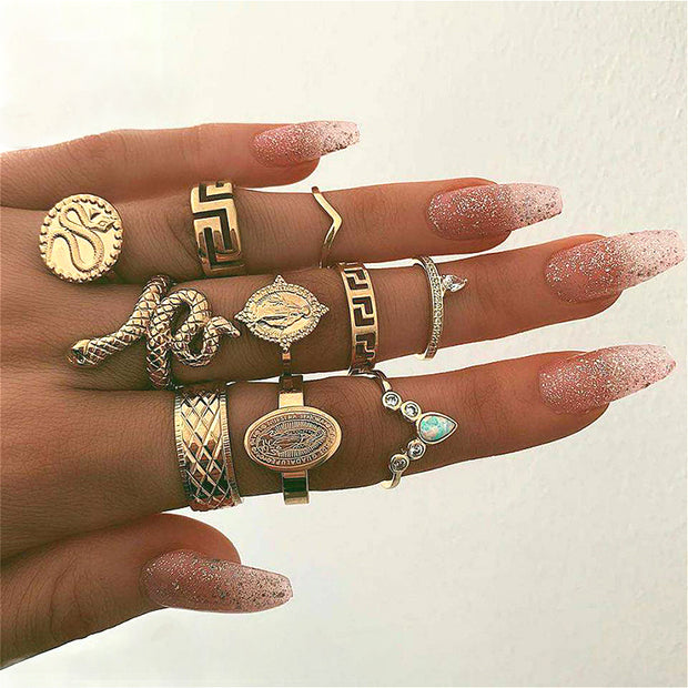10 Pcs/Set Personality Ring Set