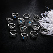 Bohemian Blue Crystal Rings Set