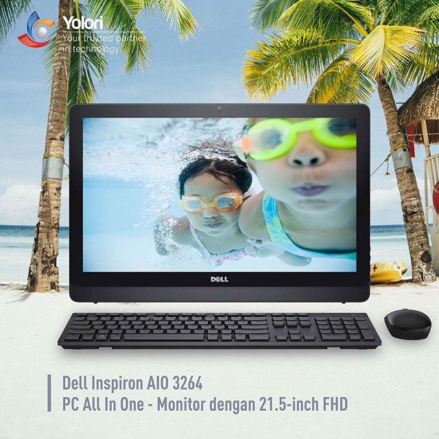 Dell Inspiron AIO 3264 PC ALL In One - Monitor dengan 21.5-inch FHD