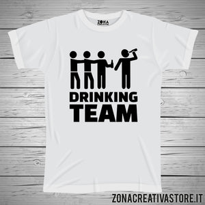 T-shirt addio al celibato e nubilato DRINKING TEAM