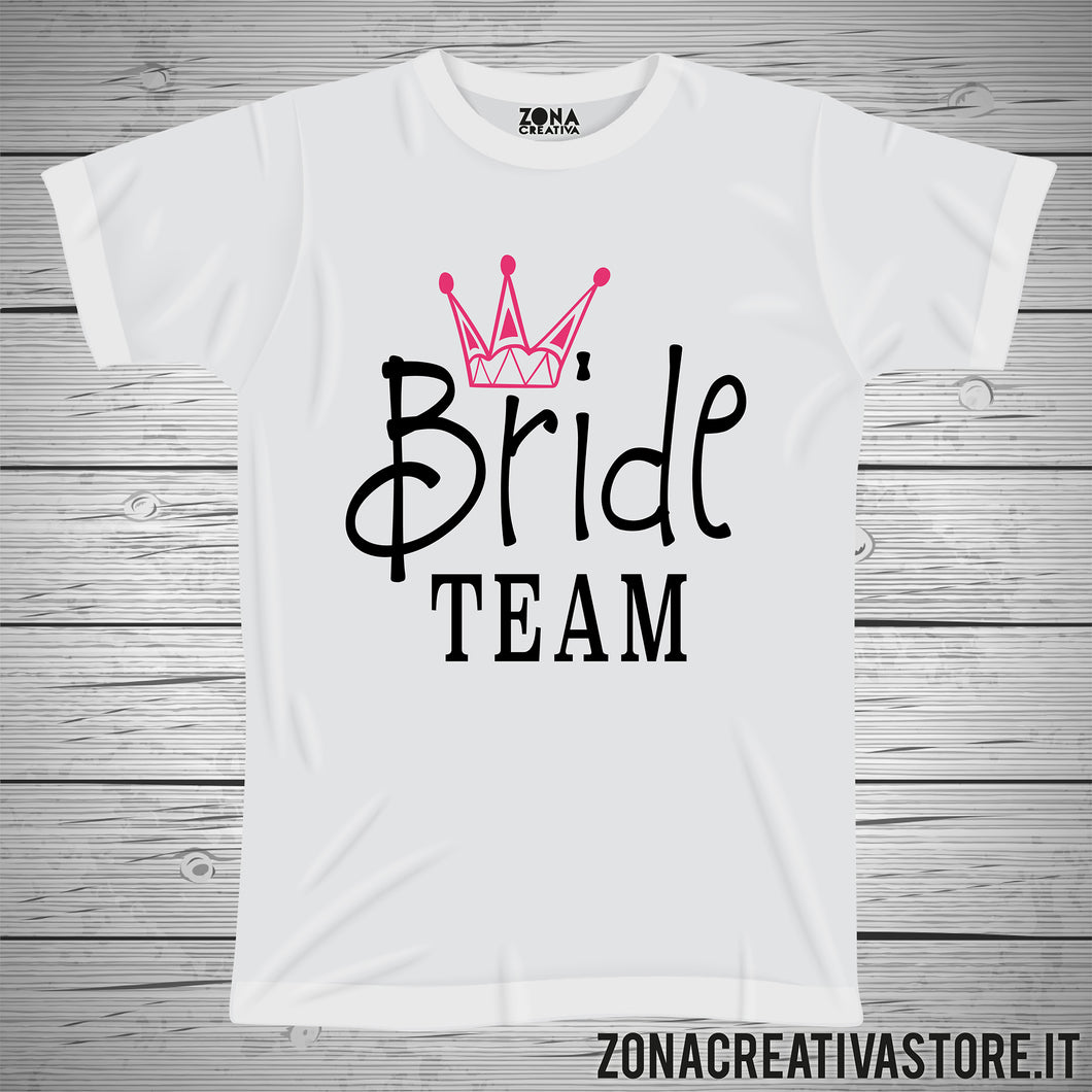 T-shirt addio al celibato e nubilato BRIDE TEAM