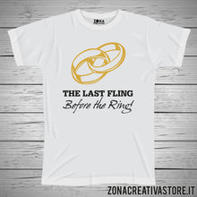 Carica l'immagine nel visualizzatore di Gallery, T-shirt addio al celibato e nubilato THE LAST FLING BEFORE THE RING