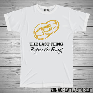 T-shirt addio al celibato e nubilato THE LAST FLING BEFORE THE RING